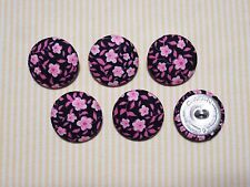 6 Black with Pink Flowers Fabric Covered Buttons - 30mm