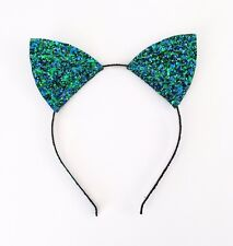 Peacock Cat Ears Headband, Blue Green Glitter Headband Cheshire Cat Fancy Dress