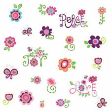 PEACE, LOVE, JOY WALL DECALS STICKERS FLOWERS FLORAL  FREE SHIPPING   RMK1649SCS