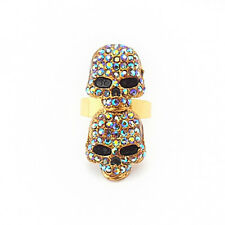 Dainty Damsel Fearne Two Skull Gold & Smokey Topaz Crystal Ring
