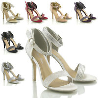 WOMENS ANKLE STRAP BRIDAL DIAMANTE LADIES BRIDESMAID PROM HIGH HEEL SANDAL SHOES