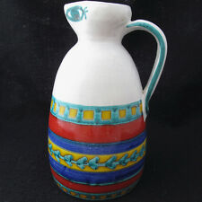 Desimone Art Pottery Pitcher Italy Mid Century Folk Art Signed Bright Colors