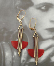 STYLISH VINTAGE ART DECO 'ODEONESQUE GOLD AND CHERRY RED BAKELITE EARRINGS
