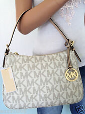 NEW! MICHAEL KORS Vanilla White Signature PVC Leather Small Shoulder Bag Purse