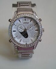 Men's Designer Style Silver Finish Hip Hop Iced out Bling  Rapper Fashion  Watch
