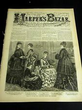 Harper's Bazar December 5 1874 w Rare PATTERN Supplement - Dresses Suits Cloaks