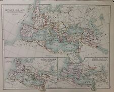 Europe - Roman Times - Barbarian Inroads Antique Map 1891 Large 2 Sided Atlas