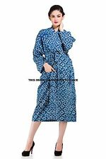 Indian Long Kimono Block Printed Dress Women Robe Dressing Gown Plus Size Dress