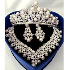 Womens Crystal Pearl Wedding Party Hair Jewelry Necklace Earrings Head Crown Set