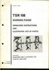 RANSOMES PLOUGH TSR108 OPERATORS MANUAL - TSR 108