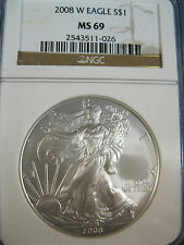 2008 W $1.SILVER EAGLE NGC MS 69 BURNISHED