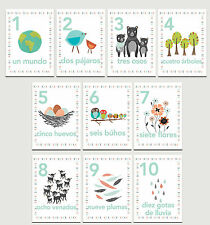 Our Earth Counting Wall Cards in Spanish, Number Flash Cards, Set of Ten 5x7