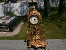 ATQ c1895-1920 ANSONIA PORCELAIN DIAL FIGURAL TIME ONLY SUB SECOND HAND CLOCK