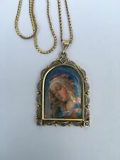 Antiguo Oro 18ct 9ct italiano Limoges Esmalte Madonna Rose Corte Diamante Colgante