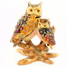 Baby Owl Jewelry Trinket Box Bird Double Owls Decoration Animal Cute Gift 02063B