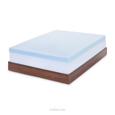 "Lucid 4"" Gel Memory Foam Mattress Topper, Queen"