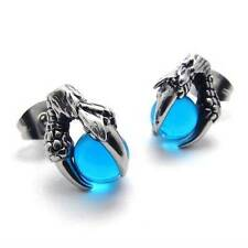 Vintage Silver Blue 316L Stainless Steel Dragon Claw Mens Stud Earrings
