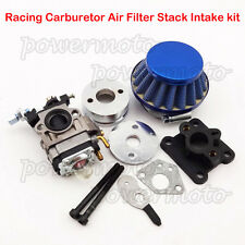 Blue Racing Carburetor Air Filter Stack Kit For 47cc 49cc ATV Dirt Pocket Bike