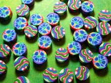 New 25 Psychedelic Peace Wave Polymer Clay Fimo Beads