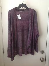 Jillian Nicole 3X Purple Gray Mulit Color Open Front Cardigan NWT Gorgeous