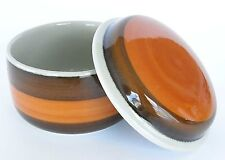 RORSTRAND ANNIKA COVERED SUGAR BOWL #143 ORANGE BROWN GRAY-GREEN STAMPED 1970'S