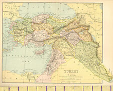 c1890 MAP ~ TURKEY IN ASIA ~ SYRIA ANGORA ANATOLIA