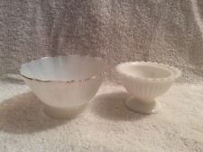 TWO PIECES OF ANTIQUE WHITE CUSTARD GLASS