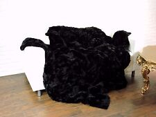 LUXURY REAL  CHINCHILLA/REX PELTS THROW BLANKET BLACK 220cm X 200cm, i717