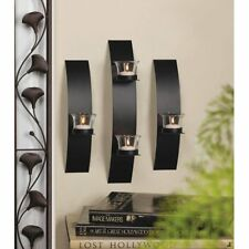 Set of 3:  Modern Black Wall Sconce Clear Glass Candle Holder