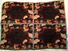 Autumn Bounty Fall Ginkgo Maple Elm Leaves Tapestry Fabric Placemat 4 Panel tops