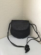Bottega Veneta Black Woven Intrecciato Napa Leather Cross Body Shoulder Handbag