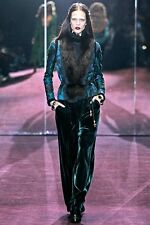 Magnificent GUCCI Black Leather Fox FUR Braided BROCADE Jacket FW 2012