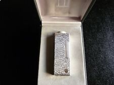 Dunhill Rollagas Lighter Silver Plated Fine Bark Design - Mint Condition-Boxed