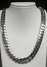 """14k Solid White Gold Miami Cuban Curb Link 30"""" 13.5 mm 375 grams chain/Necklace"""