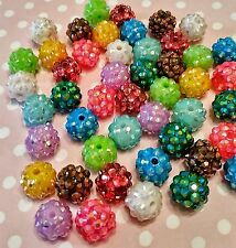 100 Beads Rhinestone Pave Resin Bead 10mm x 12mm Round Bead Assorted Colors USA*