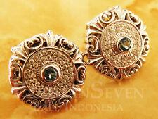 Bali Unique Carving Cubic Zirconia Topaz Sterling Silver 925 Stud Earrings N705