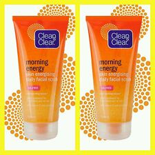 2 x Clean & Clear Morning Energy Skin Brightening Daily Facial Scrub 150ml NEW