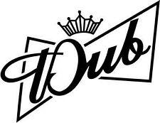 "Dub King Car Window Decor Vinyl Decal Sticker- 6"" Wide White"