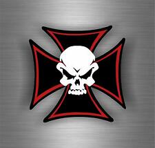 Sticker car motorcycle helmet decal chopper maltese cross skull biker