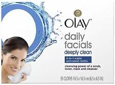 Olay Daily Deeply Clean 4-in-1 Water Activated Cleansing Face Cloths 33ct (9pk)
