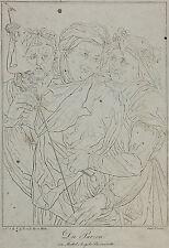 3 Parzen n Francesco Salviati - alte Umrißradierung m. rätselhafter Beschriftung
