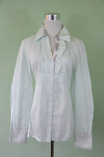 BETTY BARCLAY New £70 Womens Ruff Frill Front Classic Shirt Blouse sz 14 O80