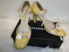CHANEL YELLOW PATENT LEATHER COLOR BLOCK ANKLE STRAP PUMPS SZ 39.5 9.5