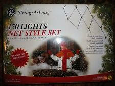 String-A-Long Net Style Green Wire RED Bulb Christmas Light Set In & Outdoor