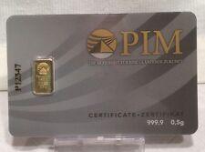 0,5g (Gramm) PIM Goldbarren, Feingoldbarren, Bankengold, Investitionsgold, 1