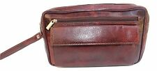 Men's Genuine Leather Wash Bag Shaving Pouch Toiletry Case Brown Gift for Him