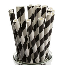 Black Striped Paper Straws x 25 Retro Drinking Cocktail Party Barbecue
