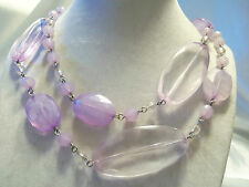 Strand Silvertone Links CHUNKY Translucent LILAC PURPLE Accent Necklace 14N487