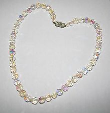 COLORFUL HEAVY VINTAGE FACETED AB CRYSTAL GLASS GRADUATED BEAD NECKLACE