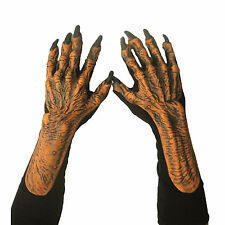 Pumpkin Monster Hands Orange Scarecrow Claws Adult Halloween Costume Gloves